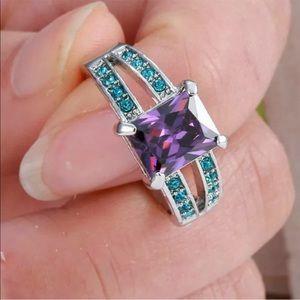 Blue purple costume jewelry ring